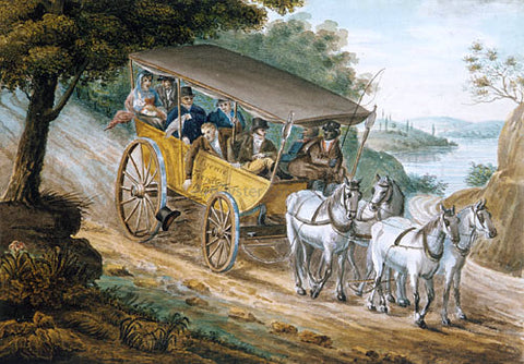 Pavel Petrovich Svinin Travel by Stagecoach Near Trenton, New Jersey - Hand Painted Oil Painting
