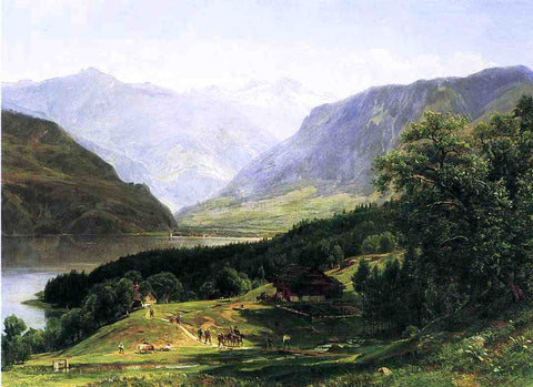 Thomas Worthington Whittredge Travelers in the Swiss Alps - Hand Painted Oil Painting