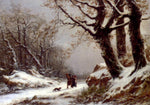 Charles Joseph Lecointe Travellers In Winter Woodland - Hand Painted Oil Painting