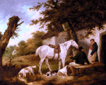 George Morland Travellers Resting Outside The Bell Inn - Hand Painted Oil Painting
