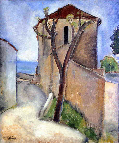 Amedeo Modigliani Tree and Houses - Hand Painted Oil Painting
