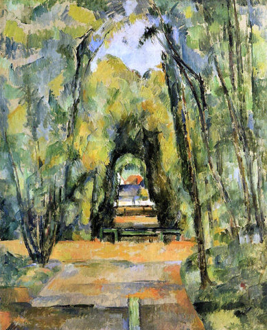 Paul Cezanne Tree Lined Lane at Chantilly - Hand Painted Oil Painting