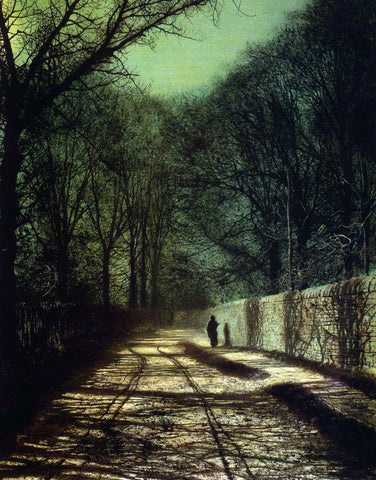 John Atkinson Grimshaw Tree Shadows on the Park Wall, Roundhay Park, Leeds - Hand Painted Oil Painting