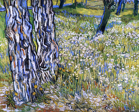 Vincent Van Gogh Tree Trunks in the Grass - Hand Painted Oil Painting