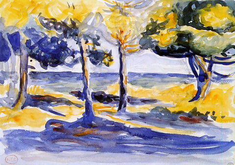 Henri Edmond Cross Trees by the Sea - Hand Painted Oil Painting