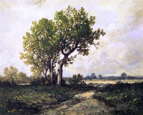 Leon Richet Trees in a Landscape - Hand Painted Oil Painting