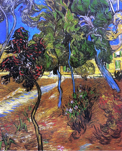 Vincent Van Gogh Trees in the Garden of Saint-Paul Hospital - Hand Painted Oil Painting