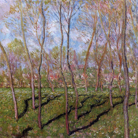 Claude Oscar Monet Trees in Winter, View of Bennecourt - Hand Painted Oil Painting