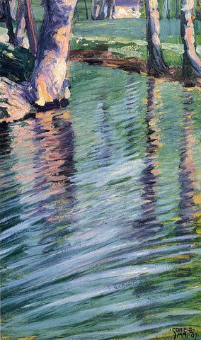 Egon Schiele Trees Mirrored in a Pond - Hand Painted Oil Painting