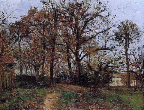Camille Pissarro Trees on a Hill, Autumn, Landscape in Louveciennes - Hand Painted Oil Painting