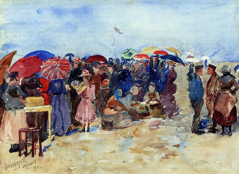 Maurice Prendergast Treport Beach (also known as A Very Sunny Day, Treport) - Hand Painted Oil Painting