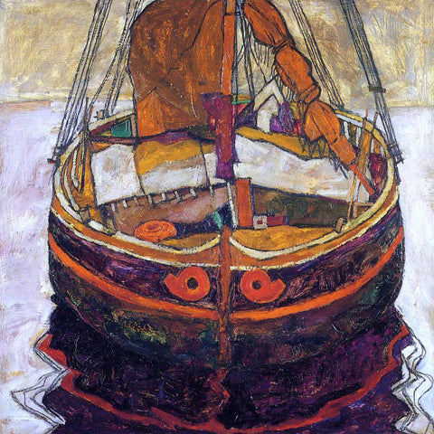 Egon Schiele A Trieste Fishing Boat - Hand Painted Oil Painting