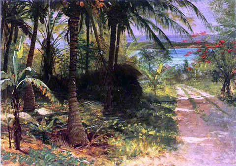 Albert Bierstadt A Tropical Landscape - Hand Painted Oil Painting