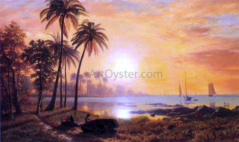 Albert Bierstadt Tropical Landscape with Fishing Boats in Bay - Hand Painted Oil Painting