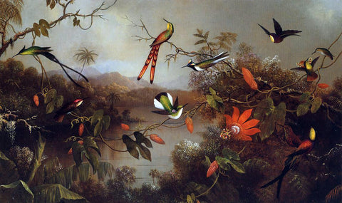 Martin Johnson Heade Tropical Landscape with Ten Hummingbirds - Hand Painted Oil Painting