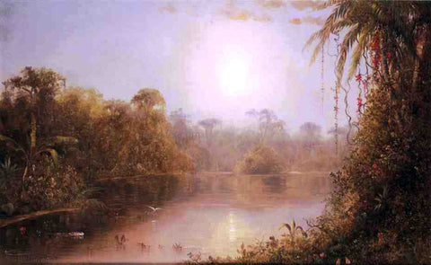 Norton Bush Tropical River Scene - Hand Painted Oil Painting
