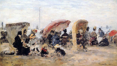 Eugene-Louis Boudin Trouville Beach Scene - Hand Painted Oil Painting