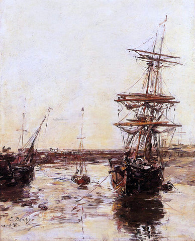 Eugene-Louis Boudin Trouville: the Outer Harbor - Hand Painted Oil Painting