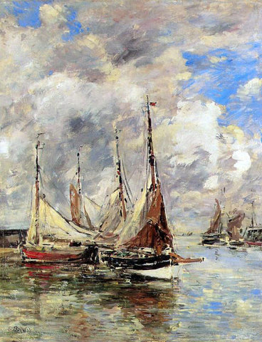 Eugene-Louis Boudin Trouville, the Piers, High Tide - Hand Painted Oil Painting