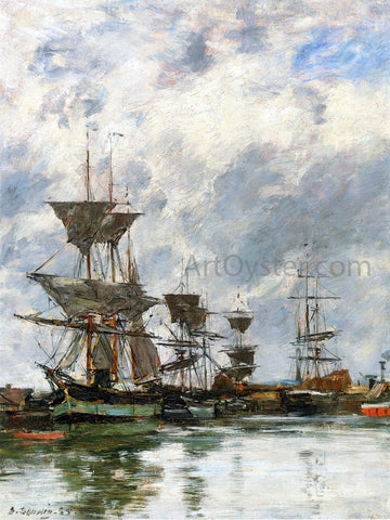 Eugene-Louis Boudin Trouville, the Port - Hand Painted Oil Painting