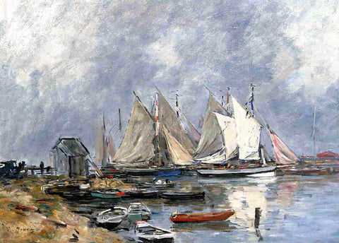 Eugene-Louis Boudin Trouville, the Port, Boats and Dinghys - Hand Painted Oil Painting