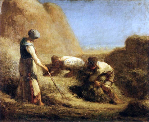 Jean-Francois Millet Trussing Hay - Hand Painted Oil Painting