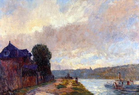 Albert Lebourg Tugboat on the Seine Downstream from Rouen - Hand Painted Oil Painting