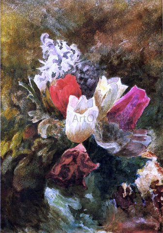 John La Farge Tulips and Hyacinths - Hand Painted Oil Painting