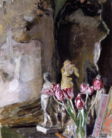 Edouard Vuillard Tulips and Statuettes - Hand Painted Oil Painting