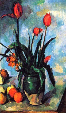 Paul Cezanne Tulips in a Vase - Hand Painted Oil Painting
