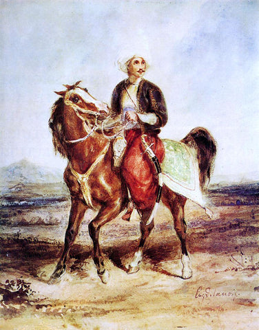 Eugene Delacroix Turkish Horseman - Hand Painted Oil Painting