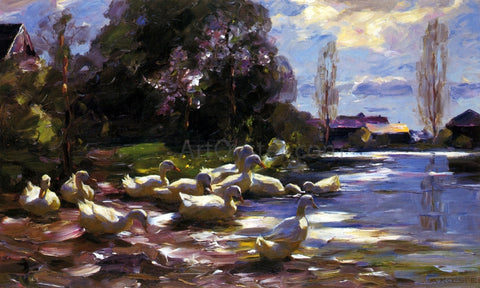 Alexander Koester Twelve Ducks Setting Out - Hand Painted Oil Painting