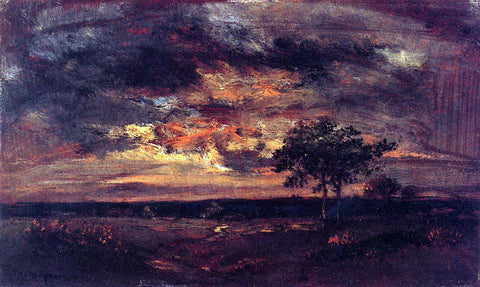 Theodore Rousseau Twilight Landscape - Hand Painted Oil Painting