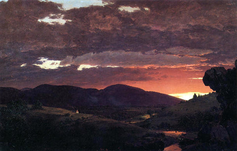 Frederic Edwin Church Twilight, 'Short arbiter 'twixt day and night' - Hand Painted Oil Painting