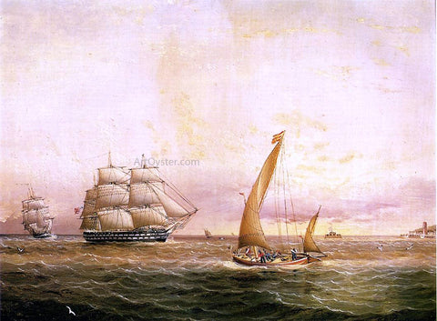 James E Buttersworth Two American Naval Vessels Entering Harbor - Hand Painted Oil Painting