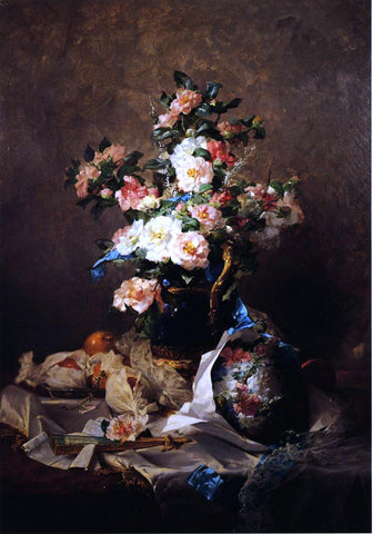 Georges Jeannin Two Bouquets - Hand Painted Oil Painting