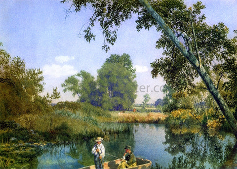 John William Hill Two Boys in a Rowboat - Hand Painted Oil Painting