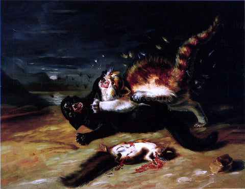 John James Audubon Two Cats Fighting - Hand Painted Oil Painting