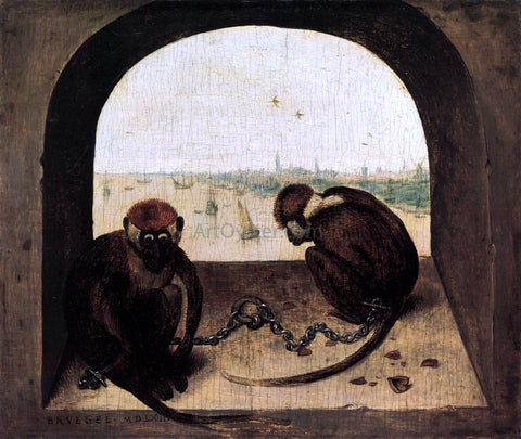 The Elder Pieter Bruegel Two Chained Monkeys - Hand Painted Oil Painting