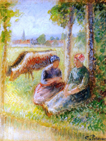 Camille Pissarro Two Cowherds by the River - Hand Painted Oil Painting