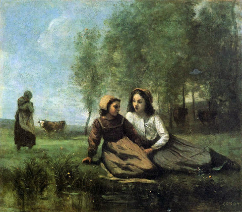 Jean-Baptiste-Camille Corot Two Cowherds in a Meadow by the Water - Hand Painted Oil Painting