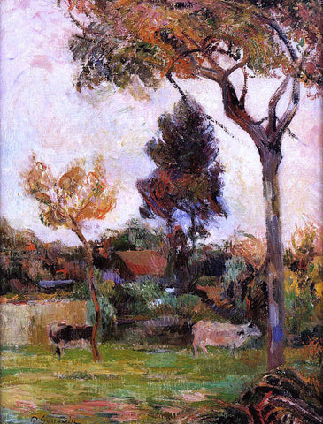 Paul Gauguin Two Cows in the Meadow - Hand Painted Oil Painting