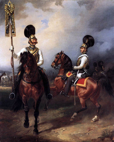 Franz Kruger Two Cuirassiers from the Regiment of Czar Nicholas I - Hand Painted Oil Painting