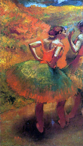 Edgar Degas Two Dancers in Green Skirts, Landscape Scenery - Hand Painted Oil Painting
