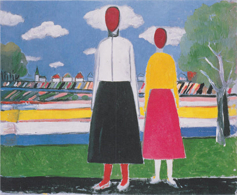 Kazimir Malevich Two Figures in a Landscape - Hand Painted Oil Painting