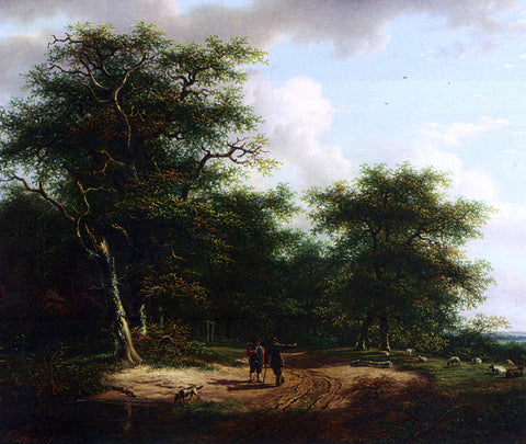 Andreas Schelfhout Two Figures In A Summer Landscape - Hand Painted Oil Painting
