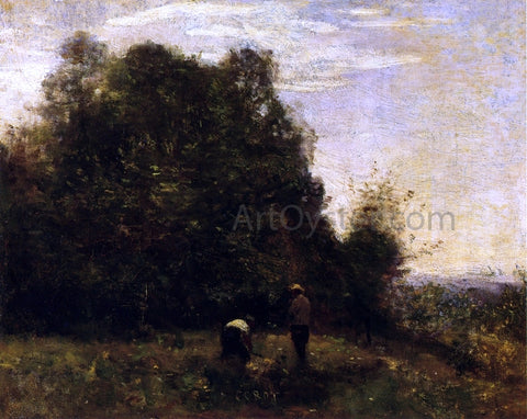 Jean-Baptiste-Camille Corot Two Figures - Working in the Fields - Hand Painted Oil Painting