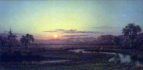Martin Johnson Heade Two Fishermen in the Marsh, at Sunset - Hand Painted Oil Painting