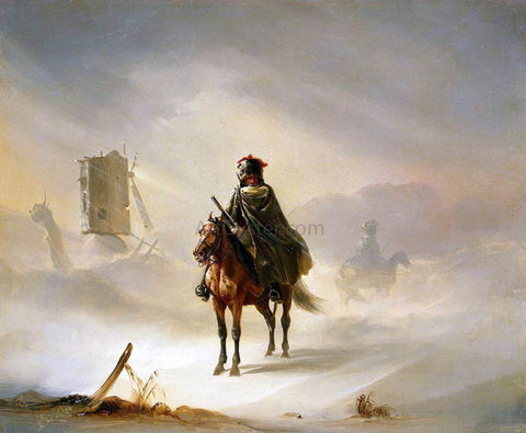 Auguste Raffet Two French Hussars on Patrol in Winter - Hand Painted Oil Painting