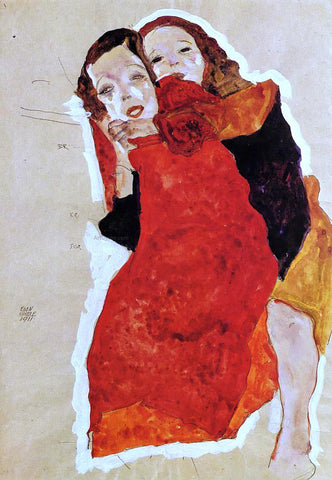 Egon Schiele Two Girls - Hand Painted Oil Painting